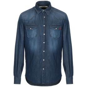 《期間限定セール開催中!》LIU JO MAN メンズ デニムシャツ ブルー S テンセル 55% / コットン 43% / ポリウレタン 2%
