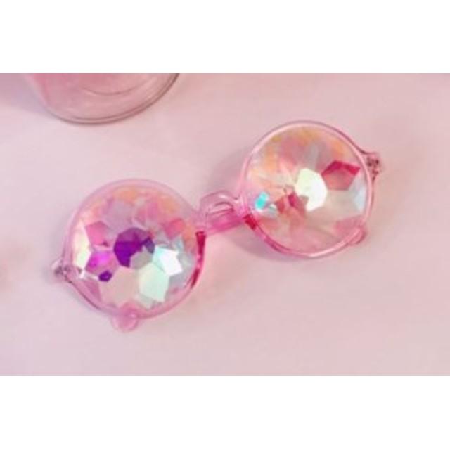 【お取り寄せ】おもしろメガネ コスプレ用 クリスタルな凸凹レンズ モザイク風 (ピンク)