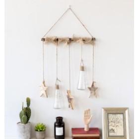 壁掛けオブジェ タペストリー風 ガラスの小瓶 木製の星モチーフ ナチュラル雑貨