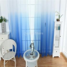 美しい 窓 薄い グラデーション カラーカーテン パネル カーテン ドレープ 2本    - 青