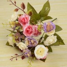 【お取り寄せ】造花 アンティークローズ 花束 5束セット (ピンク × ホワイト系)