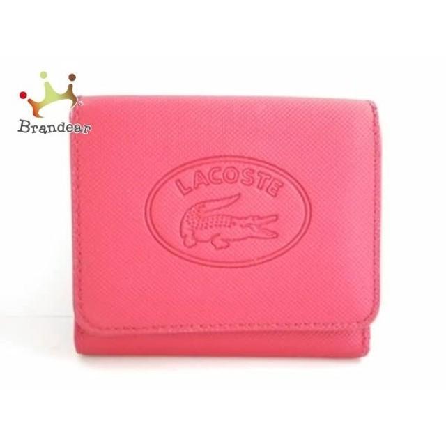 c1ac36ce23be ラコステ Lacoste 3つ折り財布 レッド 型押し加工 化学繊維 スペシャル特価 20190531
