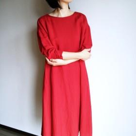 プレーンな Aラインのワンピース リネン × レーヨン red
