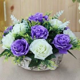 【お取り寄せ】造花 バラ パープル×ホワイト 陶器ポット入り (2色タイプ)
