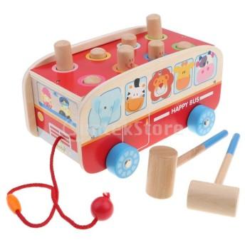 木製ハンマーボールノックアウトバスプレイセット子供赤ちゃん教育玩具ギフト