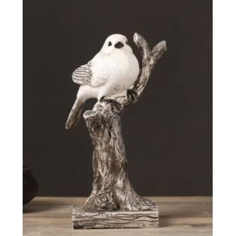【お取り寄せ】置物 木の枝にとまる ぽってりとした白い小鳥 (1羽タイプ)