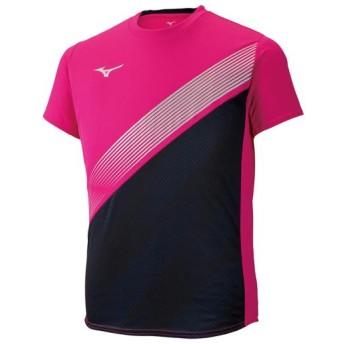 MIZUNO SHOP [ミズノ公式オンラインショップ] プラクティスシャツ[ユニセックス] 65 ピンクグロー×ブラック×シルバー U2MA9011