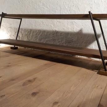アイアン 無垢 2段 テレビボード ローシェルフ 150cm