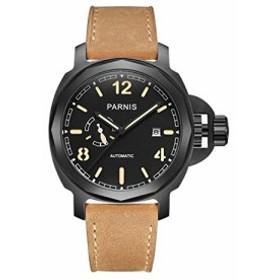7397681069 Parnis commonder II Seriers光メンズレザーバンドファッション自動機械腕時計腕時計ブラック