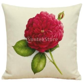 耐久性 リネン製 45x45cm 花と葉柄 枕カバー ピローケース 装飾 全4柄 - #1