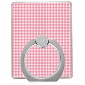 バンカーリング 落下防止 指輪型 ホールドリング スタンド スマホリング iphone8 plus iphone x 全機種対応 pink check 送料無料