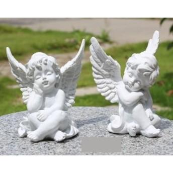 置物 うたた寝する天使 ヨーロピアン アンティーク風 2体セット