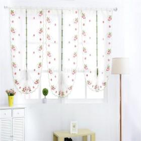 2サイズ選べる 薄手 イチゴ 花 チュール 窓 シアーカーテン 半透明 ドレープ - イチゴ, 80  100cm