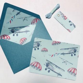 イタリアンペーパーのメッセージカード 飛行機