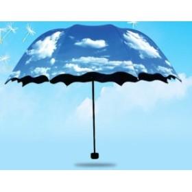 折り畳み傘 青空 内側ブラック 晴雨兼用