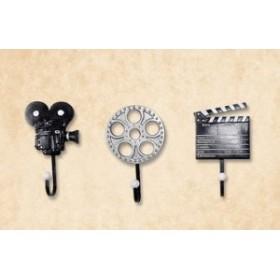 【お取り寄せ】ウォールフック かっこいい 映画撮影機 カチンコ フィルム 三種セット