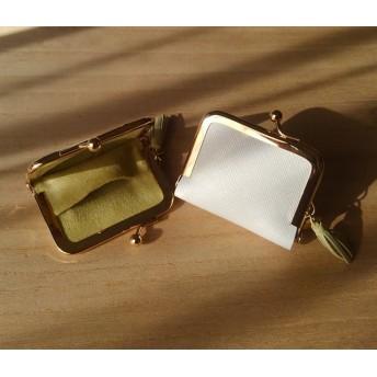 革 の がま口 アクセサリーケース ホワイト (がま口6cm)