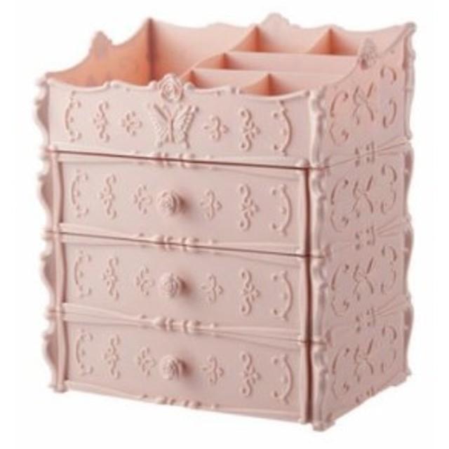 【お取り寄せ】収納ケース 小物入れ  蝶々とリボンモチーフ ガーリー風 引き出し3段タイプ (ピンク)