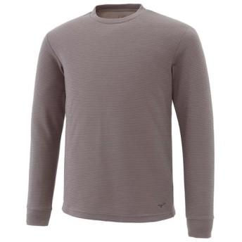 MIZUNO SHOP [ミズノ公式オンラインショップ] ブレスサーモ ミニボーダークルーネックシャツ[メンズ] 07 キャスチャコール A2JA6538