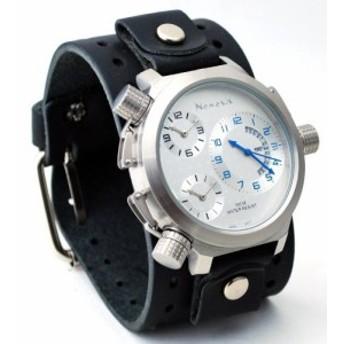 ネメシス# jb080slメンズ署名コレクション3時間ゾーンOversized WideレザーCuff Band Watch
