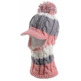 【お取り寄せ】つば付きニット帽 ネックウォーマー 首元まで一体型 2way 3色カラー (グレー×ピンク)