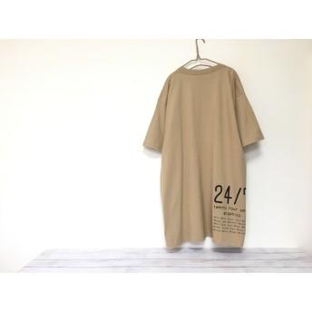 メンズ5XL!着ると可愛い!超ビッグTシャツ バックプリント(カフェオーレ)/ 大きいサイズ 6L レディース tシャツ