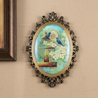 【お取り寄せ】壁掛けオブジェ 美しい絵画 アンティーク風 青い鳥と鳥かご (Aタイプ)