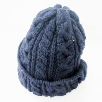 【中古】ハイランド HIGHLAND ニット帽 キャップ ワッチ ケーブル ウール 帽子 ネイビー /MF メンズ