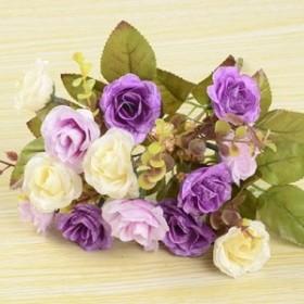 【お取り寄せ】造花 アンティークローズ 花束 5束セット (パープル × ホワイト系)