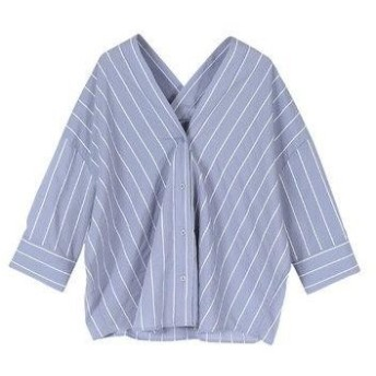 ユアーズ ur's バックタックストライプシャツ (ブルー)