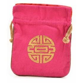 【お取り寄せ】巾着袋 中国 デザイン お土産 小物入れ 10枚セット (ローズピンク)