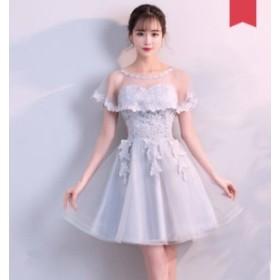 b9757f159e541 パーティー二次会 プリンセス 流行りの花レース ミモレ丈ドレス ワンピース高級Aライン ウェディングドレス