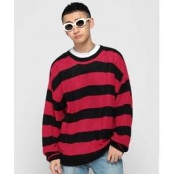 VAPORIZE / Grange Border Knit メンズ ニット・セーター REDBLACK L