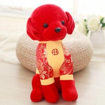 【お取り寄せ】ぬいぐるみ 置物 チャイナ服を着るワンちゃん 中国風