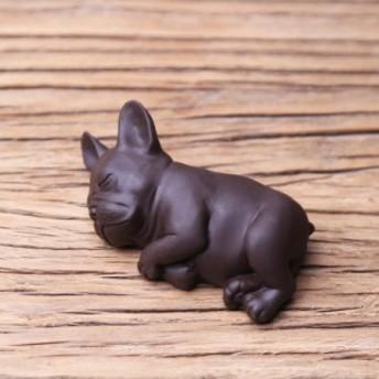 置物 茶寵 茶玩 中国茶道具 リアルな犬 眠るフレンチブルドッグ ダークブラウン (横向き)