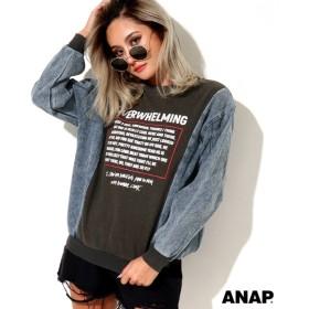 【セール開催中】ANAP(アナップ)USED風加工デニムスリーブトップス