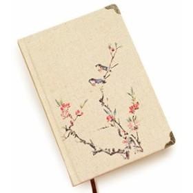 【お取り寄せ】ノート 和風デザイン 梅の木と小鳥 布表紙 B6サイズ