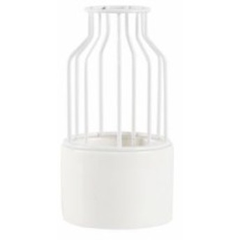 【お取り寄せ】フラワーベース 牛乳瓶モチーフ ワイヤー&陶磁器 セパレート (小×ホワイト)