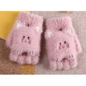 【お取り寄せ】2way手袋 ミトン ハーフフィンガー 猫顔モチーフ ふわふわ もこもこ (ピンク)