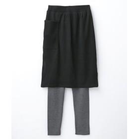 2点セット(ポンチ素材ナロースカート+レギンス) (ひざ丈スカート)