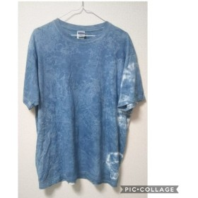 sale 一点物 藍染絞り 半袖Tシャツ XL(T男女De半-XL-1)男女兼用
