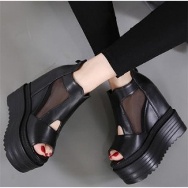 サマーブーツ 厚底サンダル 夏ブーツサンダル 透かしメッシュ切替シークレットインヒール ウェッジショートブーツ ブラック