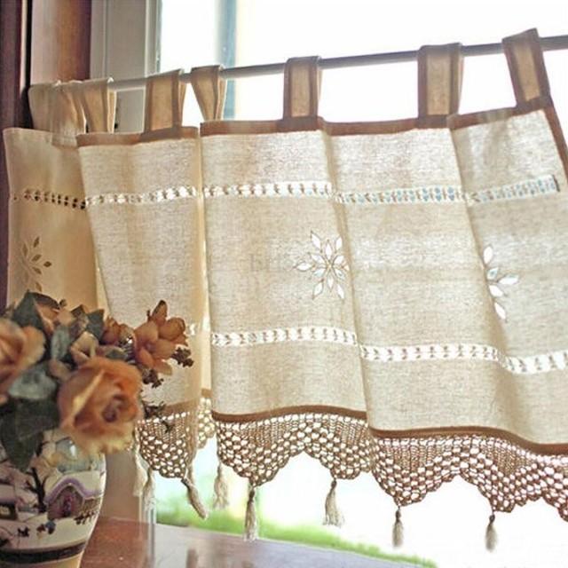 インテリア 45x150cm 中空 かぎ針編み ウィンドウ カーテン ドレープ パネル 装飾