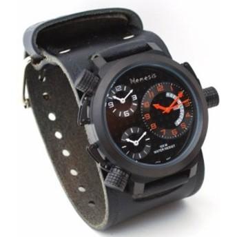 ネメシス# kin080knメンズ署名コレクションTriple Time Zone Oversized WideレザーCuff Band Watch
