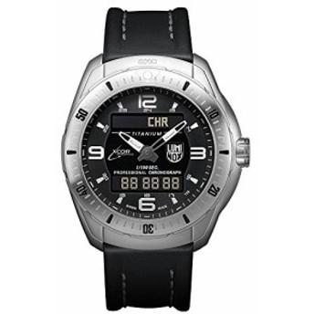 Luminox XX。5241. XSメンズXCORスペースExpeditionチタンケースブラックレザーブラックダイヤルシルバー腕時計