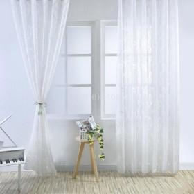 2本 窓 チュール ボイル 葉 パターン ドレープ カーテン ドレープバランス パネル ファッション 全5色 - 白