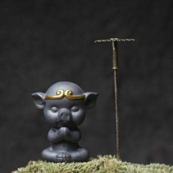 【お取り寄せ】置物 茶寵 茶玩 中国茶道具 瞑想するブタさん 猪八戒 馬鍬付き (Aタイプ)