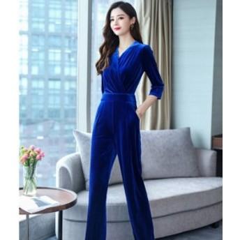オールインワン ドレス ベロア パンツ 結婚式 お呼ばれドレス パーティー ドレス 大きいサイズ レディース 30代 40代 韓国
