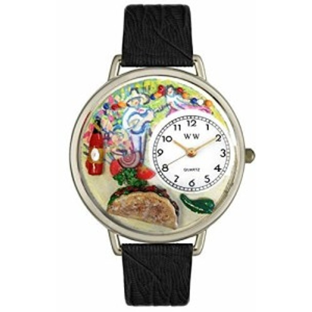 Taco Lover Black Leather And Silvertone Watch #WG-U0310015