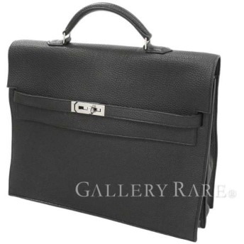 エルメス ケリーデペッシュ 34 cm 外縫い ブラック×シルバー金具 トゴ O刻印 ビジネスバッグ 書類バッグ